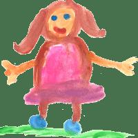 Vesivärit tyttö vaaleanpunainen mekko